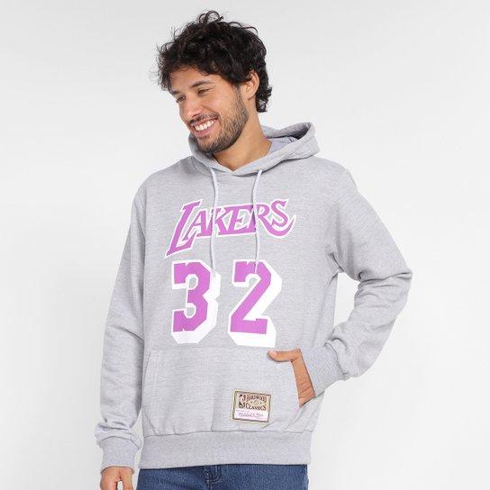 Moletom Los Angeles Lakers Magic Johnson Mitchell & Ness Canguru Masculino - Mescla