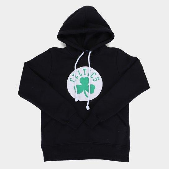 Moletom NBA Boston Celtics Juvenil Canguru Masculino - Preto