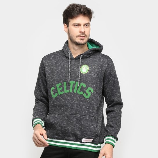 Moletom NBA Boston Celtics Mitchell & Ness Mescla Masculino - Preto