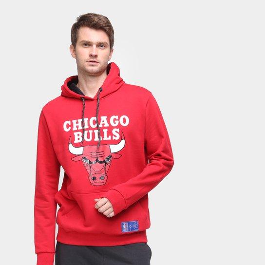 Moletom NBA Chicago Bulls Canguru Masculino - Vermelho Claro