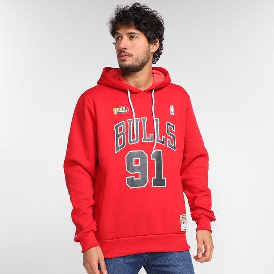 Moletom NBA Chicago Bulls Dennis Rodman Mitchell & Ness Masculina - Vermelho