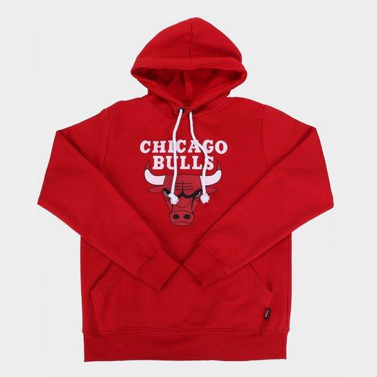 Moletom NBA Chicago Bulls Juvenil Canguru Masculino - Vermelho