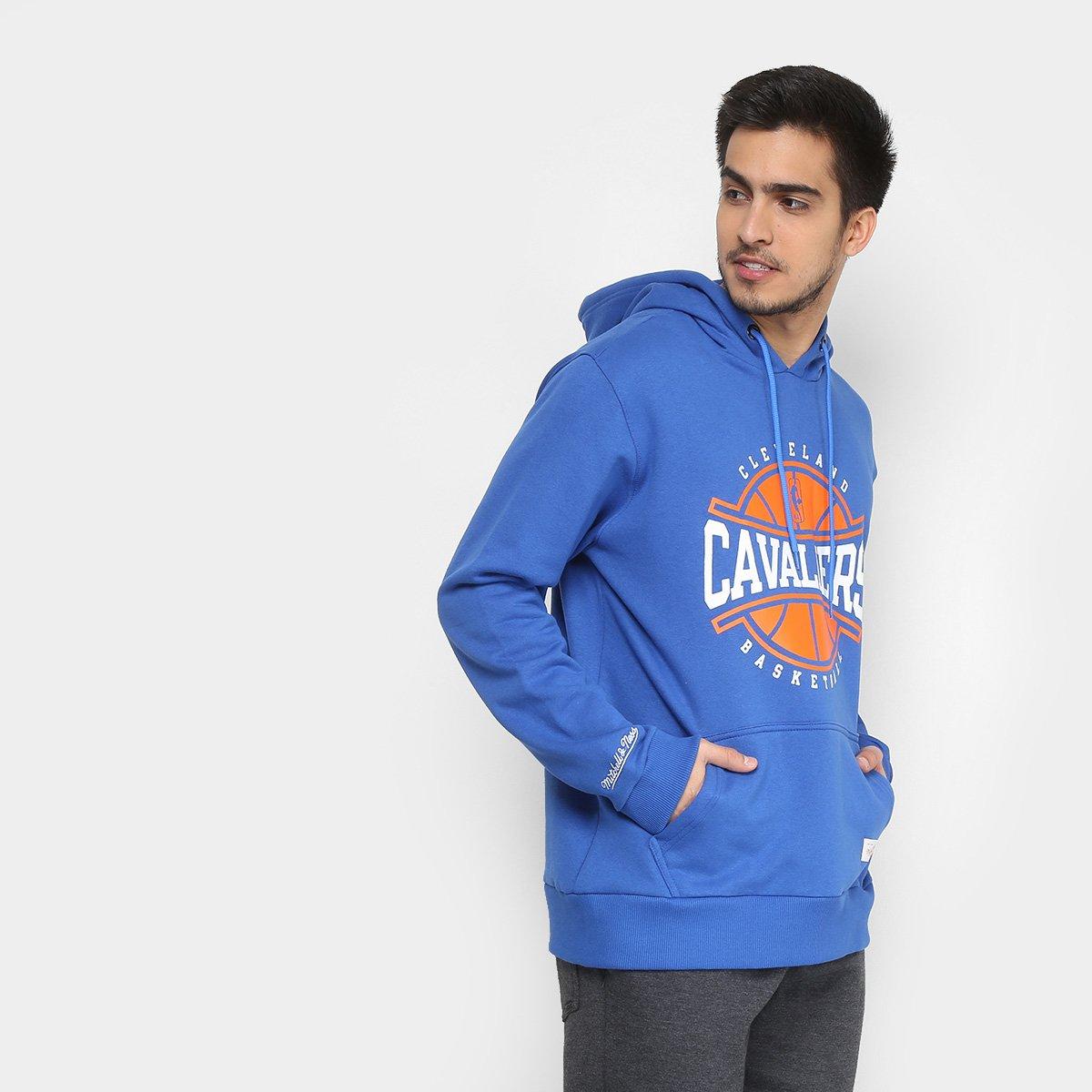 Moletom NBA Cleveland Cavaliers Mitchell   Ness Masculino - Azul ... 54765ae95df4a