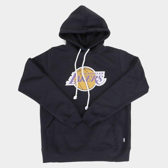 Moletom NBA Los Angeles Lakers Juvenil Canguru Masculino - Preto