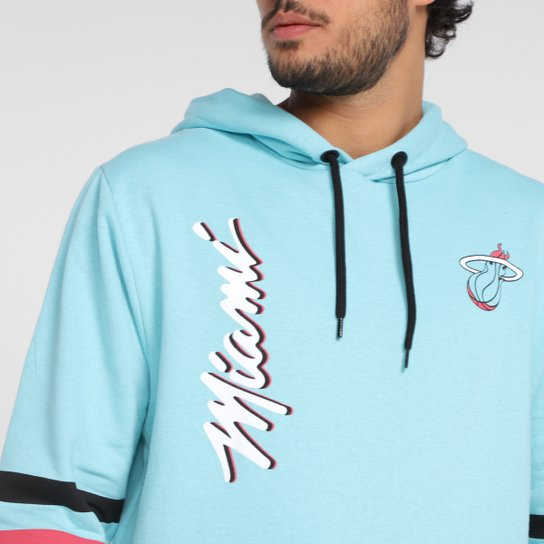 Moletom NBA Miami Heat Canguru Masculino - Azul Claro