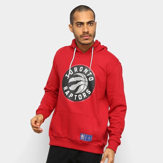 Moletom NBA Toronto Raptors Canguru Masculino - Vermelho