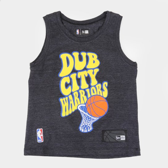 Regata Infantil NBA Golden State Warriors New Era Masculina - Mescla Escuro