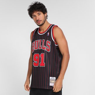 Regata NBA Chicago Bulls Dennis Rodman nº91 Mitchell & Ness Estampada Masculina