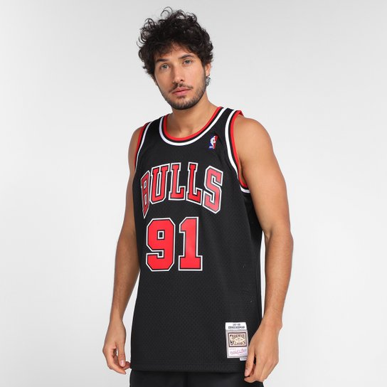 Regata NBA Chicago Bulls Dennis Rodman nº91 Mitchell & Ness Estampada Masculina - Preto