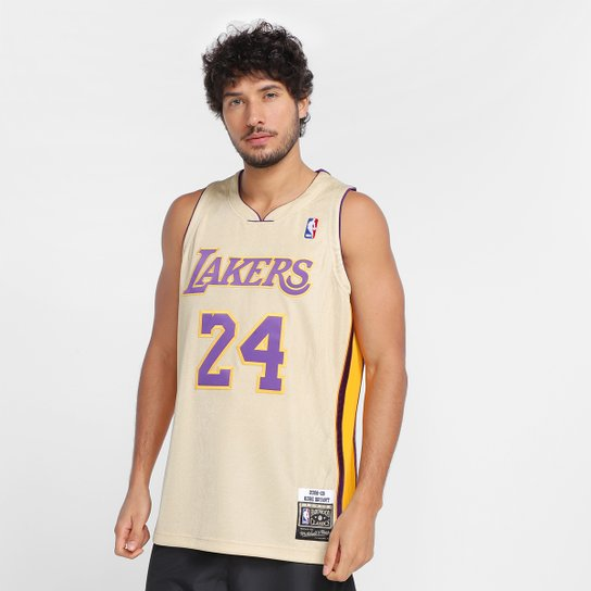 Regata NBA Los Angeles Lakers Kobe Bryant nº 24 Mitchell & Ness Gold Masculina - Dourado