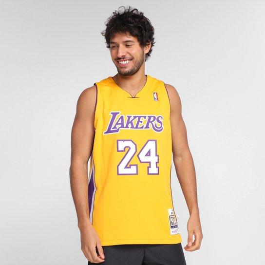 Regata NBA Los Angeles Lakers Kobe Bryant nº24 Mitchell & Ness Masculina - Amarelo
