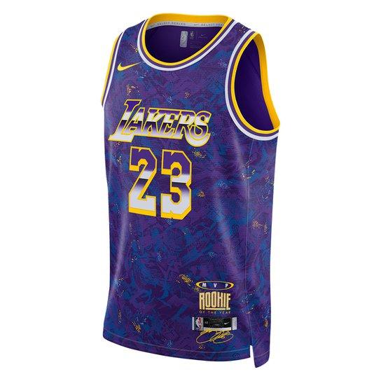 Regata NBA Los Angeles Lakers LeBron James MVP Nike Swingman Select Series Masculina - Roxo+Amarelo