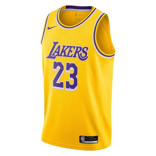 Regata NBA Los Angeles Lakers nº 23 Lebron James Nike Masculina - Amarelo