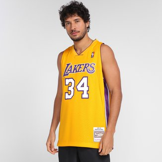 Regata NBA Los Angeles Lakers Shaquille O'Neal nº 34 Mitchell & Ness Masculina
