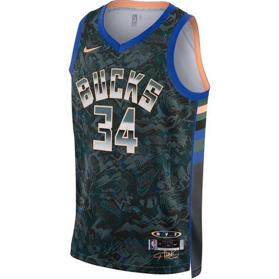 Regata NBA Milwaukee Bucks Giannis Antetokounmpo Nike MVP Select Series Masculina - Verde+Azul