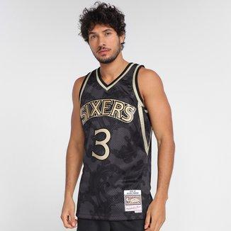 Regata NBA Philadelphia 76ers Allen Iverson nº3 Mitchell & Ness Golden Masculina
