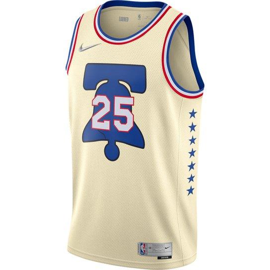 Regata NBA Philadelphia 76ers Ben Simmons Nike Jersey Swingman ER Masculina - Bege+Azul