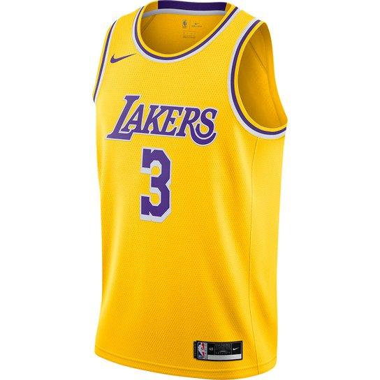 Regata NBA Swingman Los Angeles Lakers  nº 3 Anthony Davis Nike Masculina - Amarelo+Roxo