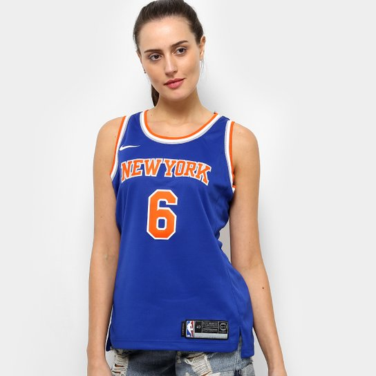 Regata NBA Swingman New York Knicks nº 6 Kristaps Porzingis Jersey Nike Feminina - Azul