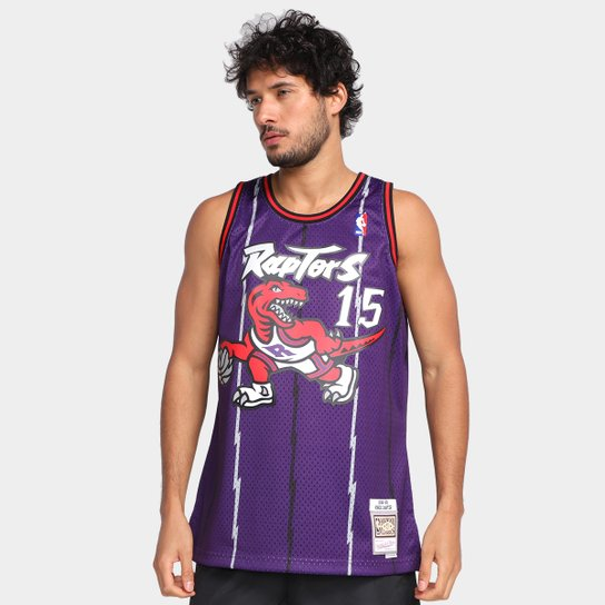 Regata NBA Toronto Raptors Vince Carter nº 15 Mitchell & Ness Masculina - Roxo