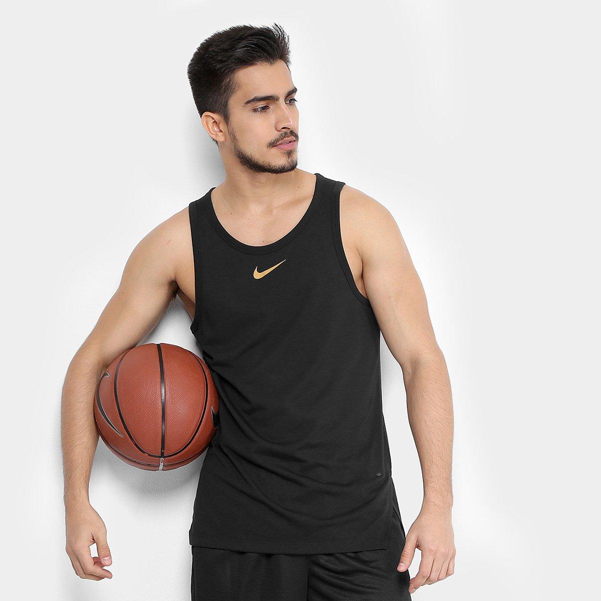 ca4ca4b366 Regata Nike Elite Top Masculina - Preto e Dourado - Compre Agora ...