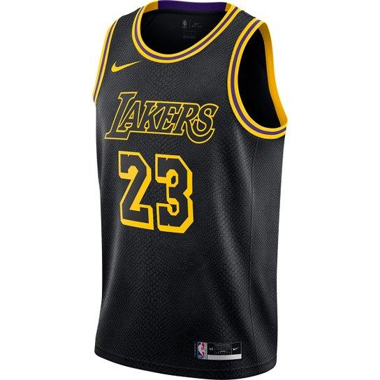 Regata Nike Los Angeles Lakers LeBron James Masculina - Preto