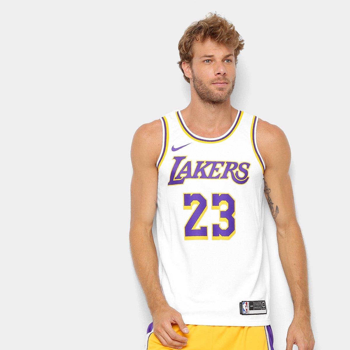 dd86348a7 Regata Swingman NBA Los Angeles Lakers Jersey Home Nike - Branco e Amarelo  - Compre Agora