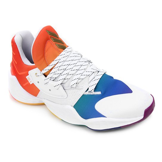 Tênis Adidas Harden Vol 4 Gca Pride Masculino - Branco+Laranja