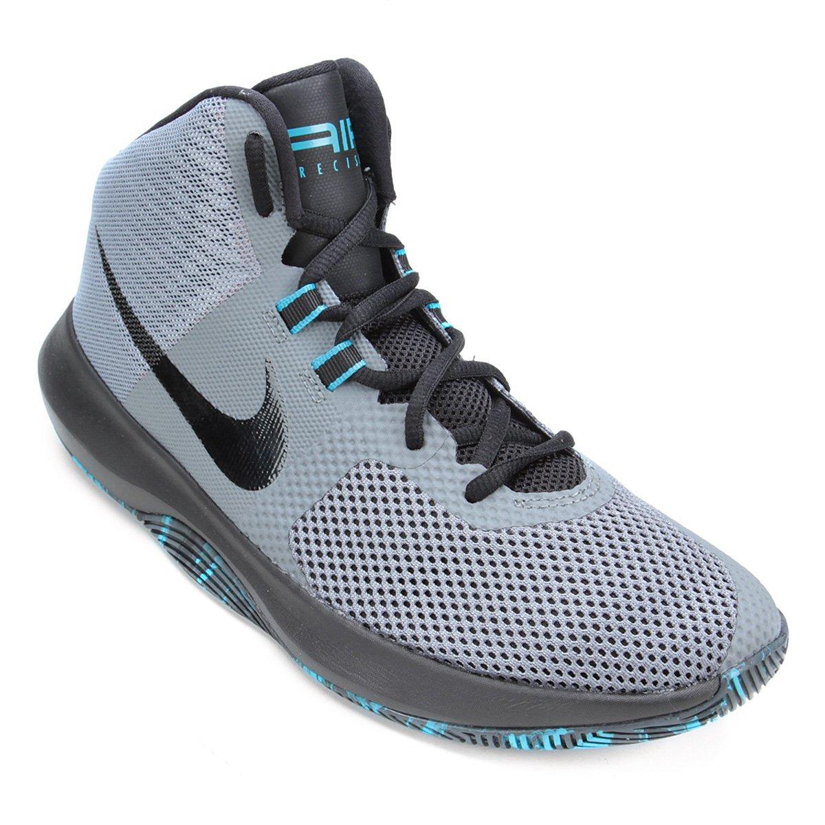 pómulo Depresión proteger  Tênis Cano Alto Nike Air Precision Masculino - Cinza e Azul | Loja NBA