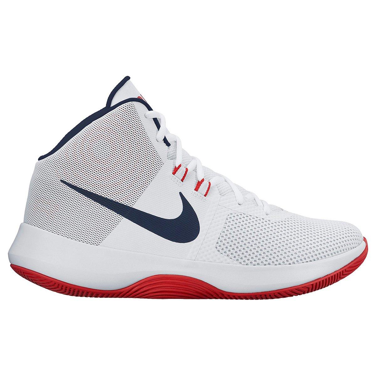 f2c681f03ca Tênis Cano Alto Nike Air Precision Masculino - Branco e Vermelho - Compre  Agora