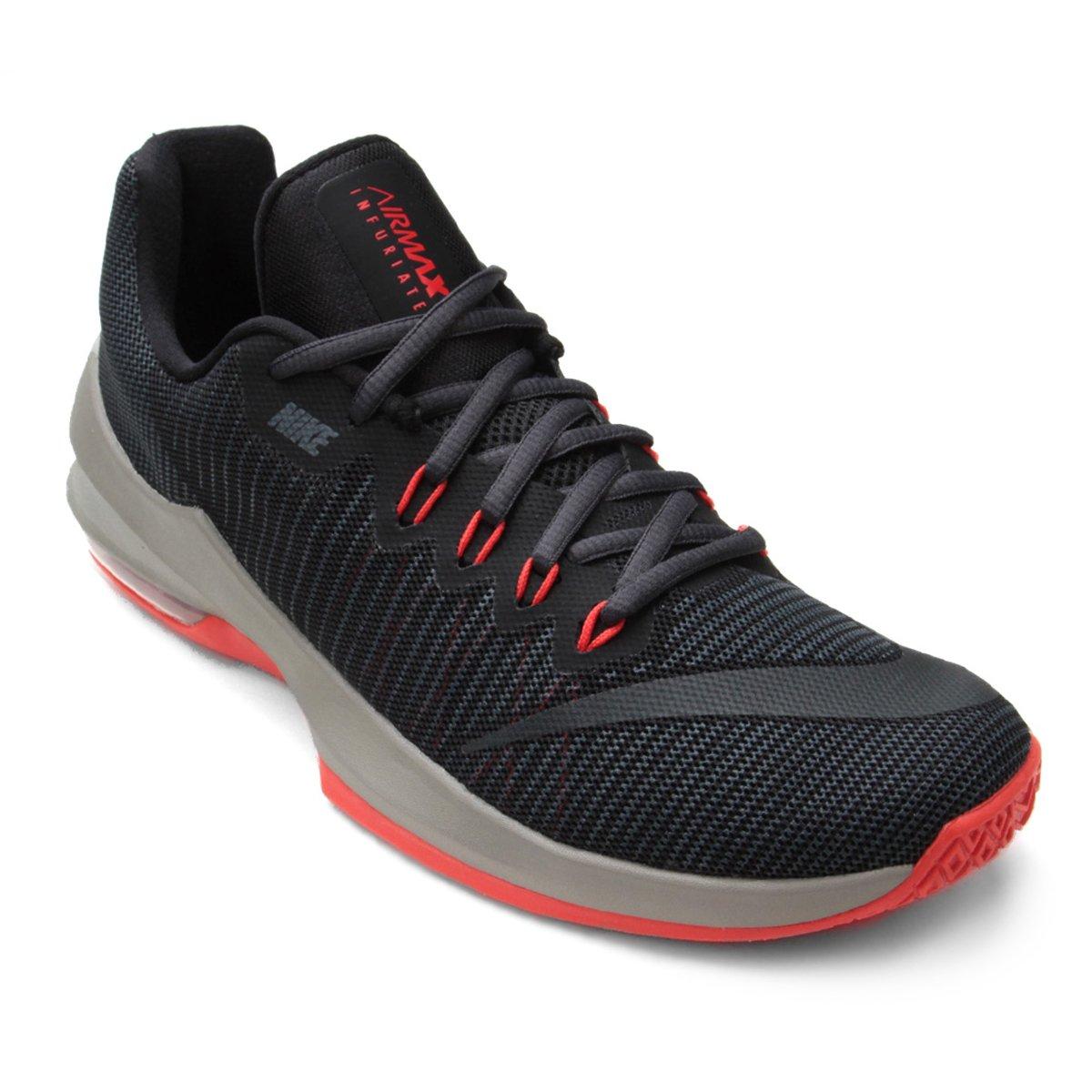 new styles bdabe c3e70 Tênis Nike Air Max Infuriate 2 Low Masculino - Preto e Vermelho - Compre  Agora  Loja NBA