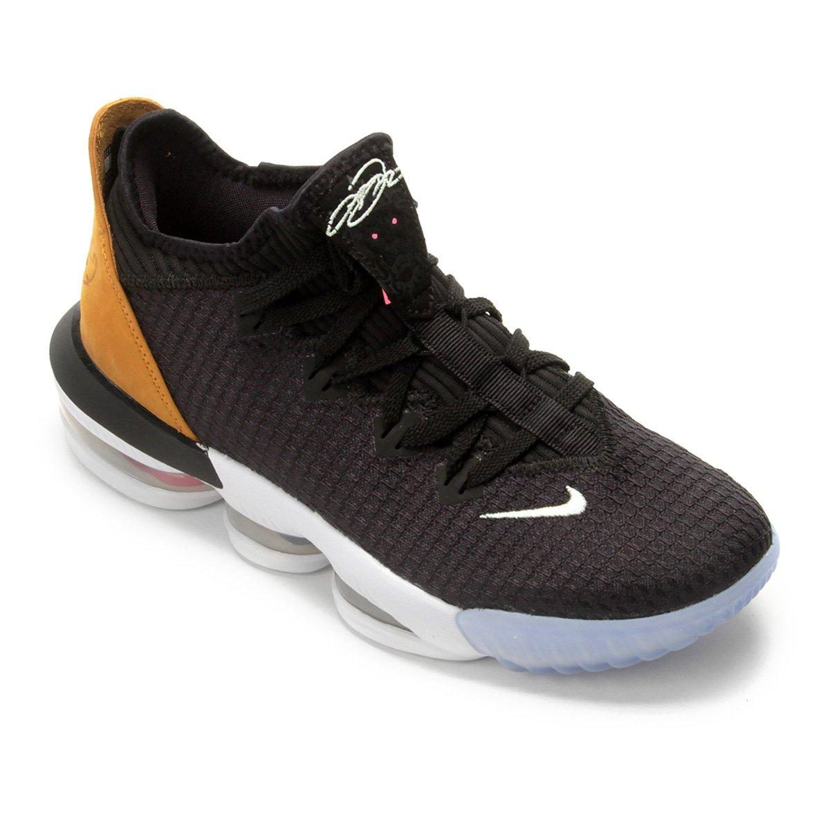 a9edbf37d596b8 Tênis Nike Lebron XVI Low Masculino - Preto e Branco | Loja NBA